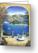 Wine For Two Greeting Cards - Bellagio Lake Como From the Terrace Greeting Card by Marilyn Dunlap