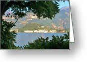 Lake Como Greeting Cards - Bellagio Thru the Trees Greeting Card by Marilyn Dunlap