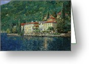 Lakescape Greeting Cards - Bellano on Lake Como Greeting Card by Guido Borelli