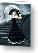 Formal Mixed Media Greeting Cards - Belle Of The Full Moon Ball Greeting Card by Tammera Malicki-Wong