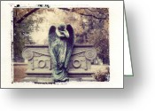 Cry Greeting Cards - Bellefontaine Angel Polaroid transfer Greeting Card by Jane Linders