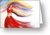 Belly Dance Greeting Cards - Belly Dancer 2 Greeting Card by Julie Lueders