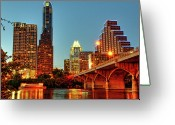 Illuminated Greeting Cards - Below Congress Avenue Bridge Greeting Card by David Hensley