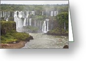 Trees And Rock Cliffs Greeting Cards - Below Normal Amount Of Water Falling Greeting Card by Mike Theiss
