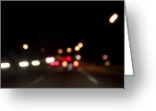 Beltway Greeting Cards - Beltway Bokeh 1 Greeting Card by James Anthony Campbell