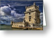 Interface Images Greeting Cards - Belum Tower in Lisbon Portugal Greeting Card by David Smith