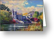New York City Painting Greeting Cards - Belvedere Castle Central Park Greeting Card by David Lloyd Glover