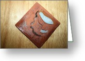 Uganda Pottery Ceramics Greeting Cards - Ben - tile Greeting Card by Gloria Ssali