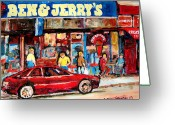 Montreal Citystreets Greeting Cards - Ben And Jerrys Ice Cream Parlor Greeting Card by Carole Spandau
