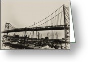 Delaware River Greeting Cards - Ben Franklin Bridge from the Marina in Black and White. Greeting Card by Bill Cannon