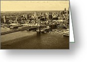 Philadelphia Greeting Cards - Ben Franklin Bridge Philadelphia with boat Greeting Card by Jack Paolini
