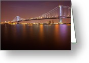 Atlantic Greeting Cards - Ben Franklin Bridge Greeting Card by Richard Williams Photography