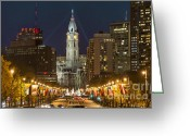 Skylines Photo Greeting Cards - Ben Franklin Parkway and City Hall Greeting Card by John Greim