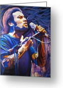 Singer Painting Greeting Cards - Ben Harper and Mic Greeting Card by Joshua Morton