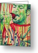 Burn Greeting Cards - Ben Harper-Burn One Down Greeting Card by Joshua Morton
