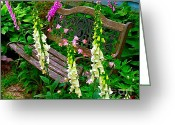 Artography Greeting Cards - Bench Among the Foxgloves Greeting Card by Julie Dant