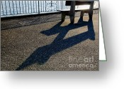 Banister Greeting Cards - Bench and shadow Greeting Card by Mats Silvan
