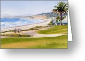 California Painting Greeting Cards - Bench at Powerhouse Beach Del Mar Greeting Card by Mary Helmreich