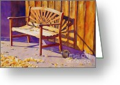 Hall Painting Greeting Cards - Bench At Sharlot Hall Greeting Card by Robert Hooper