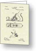 Plane Drawings Greeting Cards - Bench Plane 1883 Patent Art Greeting Card by Prior Art Design