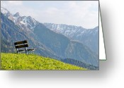 Mountains Greeting Cards - Bench Greeting Card by Rolfo Eclaire