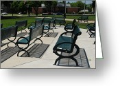 Park Benches Greeting Cards - Bench Shadows Greeting Card by Kathleen Struckle