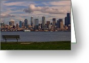 Puget Sound Greeting Cards - Bench with a View Greeting Card by Dan Mihai