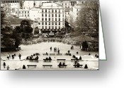 Park Benches Greeting Cards - Benches in Paris Greeting Card by John Rizzuto