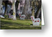 Park Benches Greeting Cards - Benches Greeting Card by Mats Silvan