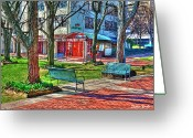 Tomato Digital Art Greeting Cards - Benches Greeting Card by Stephen Younts