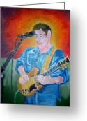 Jamming Painting Greeting Cards - Bending The Guitar at Will Greeting Card by Timothy  Foley