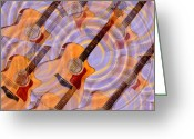 Taylor Guitar Greeting Cards - Bending Time and Space Greeting Card by Bill Cannon