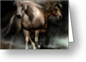 Horses Art Print Greeting Cards - Beneath A Summer Moon Greeting Card by Carol Cavalaris