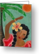 Island Cultural Art Greeting Cards - Beneath the Bright Sun Greeting Card by Jennifer R S Andrade