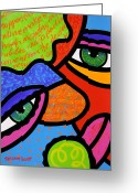 Abstract Bright Color Greeting Cards - Beneath the Green Hat Greeting Card by Steven Scott