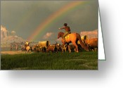 American Cowboy Digital Art Greeting Cards - Beneath the Painted Sky Greeting Card by Dieter Carlton