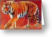 Prowling Greeting Cards - Bengal Tiger  Greeting Card by Mark Adlington