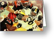 Sports Art Painting Greeting Cards - Bengals vs Steelers Greeting Card by Douglas Fincham