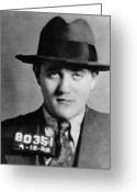 Mug Shot Greeting Cards - Benjamin Bugsy Siegel Greeting Card by Granger