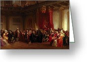 Costumes Painting Greeting Cards - Benjamin Franklin Appearing before the Privy Council  Greeting Card by Christian Schussele
