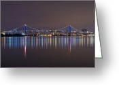 Pennsylvania Pyrography Greeting Cards - Benjamin Franklin Bridge Greeting Card by Conor McLaughlin