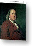 Half Length Greeting Cards - Benjamin Franklin Greeting Card by Joseph Wright of Derby