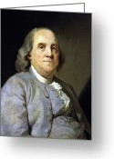 Navy Painting Greeting Cards - Benjamin Franklin Greeting Card by War Is Hell Store