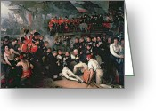 Napoleon Painting Greeting Cards - Benjamin West Greeting Card by The Death of Nelson