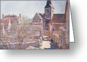 Masterpiece Painting Greeting Cards - Bennecourt Greeting Card by Claude Monet