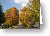 Cumulus Cloud Greeting Cards - Bennington Battle Monument I Greeting Card by Clarence Holmes