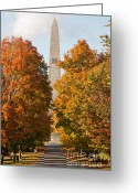 Cumulus Cloud Greeting Cards - Bennington Battle Monument II Greeting Card by Clarence Holmes