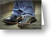 Cowboy Boots Greeting Cards - Bennys Boots Greeting Card by Joan Carroll