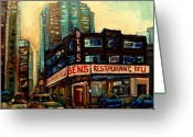 Montreal Summer Scenes Greeting Cards - Bens Restaurant Deli Greeting Card by Carole Spandau
