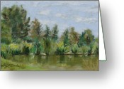 Lakes Pastels Greeting Cards - Benson Sculpture Park Greeting Card by Mary Benke